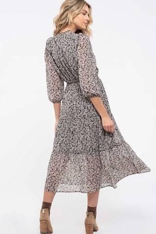 Black Multi Prairie Ruffle Dress