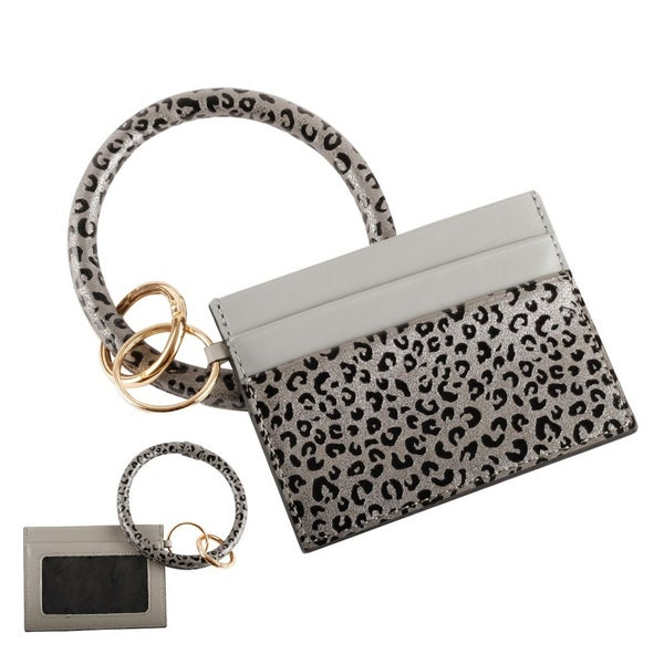Faux Leopard Print Key Ring ID Card Holder Wristlet