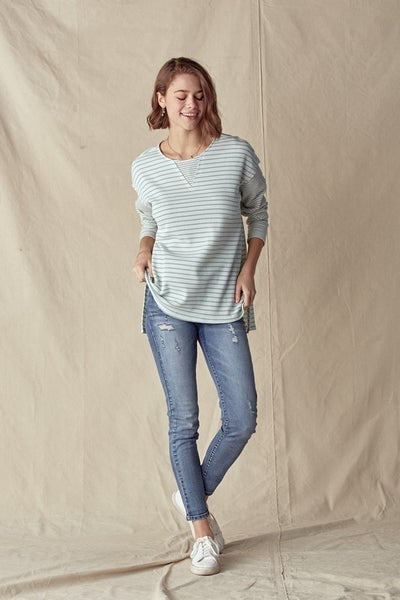 Sage Stripe Mixed Thermal Long Sleeve