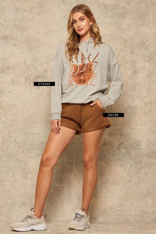Waffle Knit Button-Tab Sweater Shorts