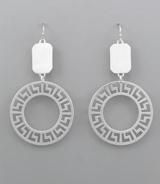 Greek Key Circle Earrings