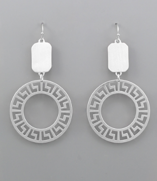 Greek Key Circle Earrings