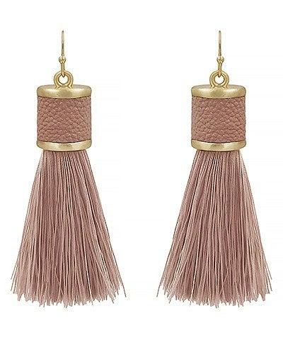Dusty Pink Leather Cap Tassel Earrings
