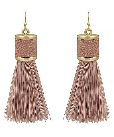 Dusty Pink Leather Cap Tassel Earrings