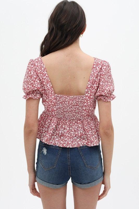 Rose Floral Printed V-Neck Crop Top