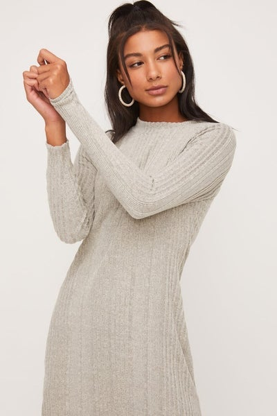 Heather Grey Mock Neckline Knit Dress