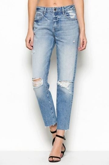 LIght Wash High Waisted Straight Leg Denim *Final Sale*