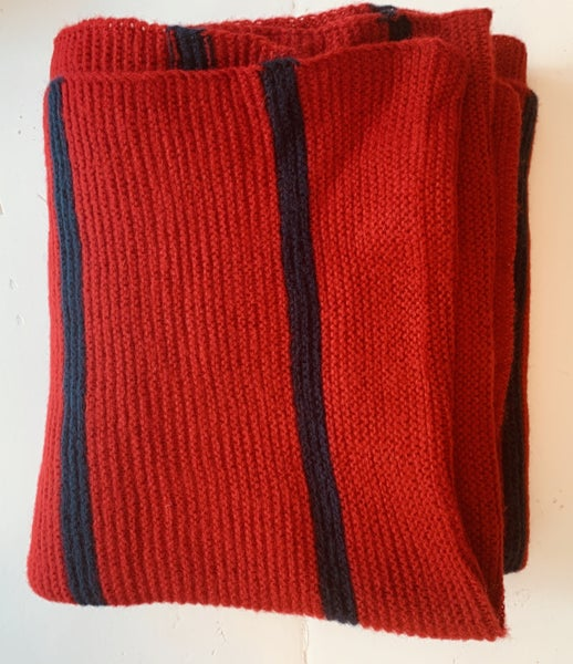 Red WIth Navy Stripe Knit Scarf