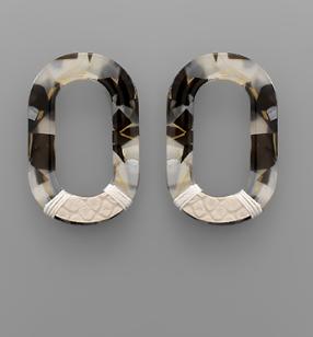 Bottom Leather Acrylic Oval Earrings