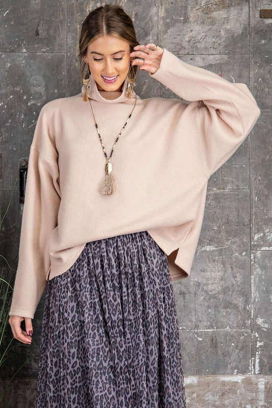 Mock Neck Brushed Hacci Knit Pullover Top