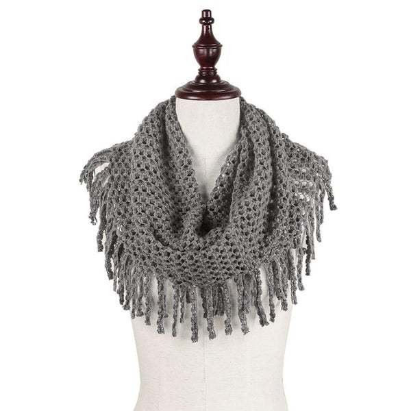 Two Tone Tube Scarf with Fringe Tassels