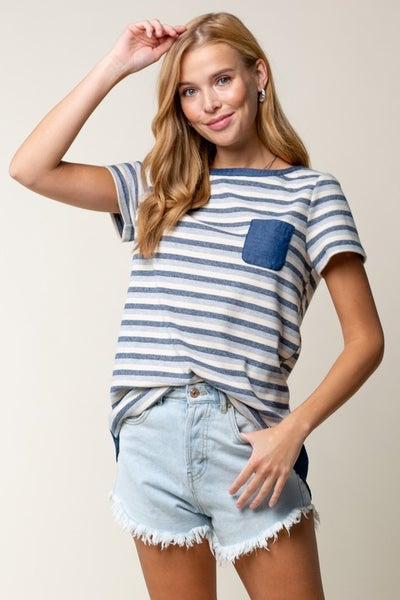 Striped Rib Tee with Chambray Pocket
