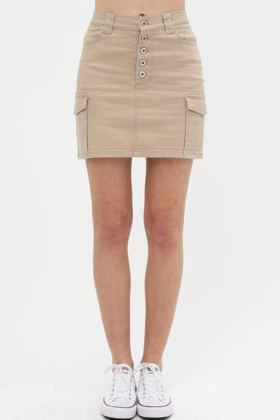 Taupe 5 Button Skirt