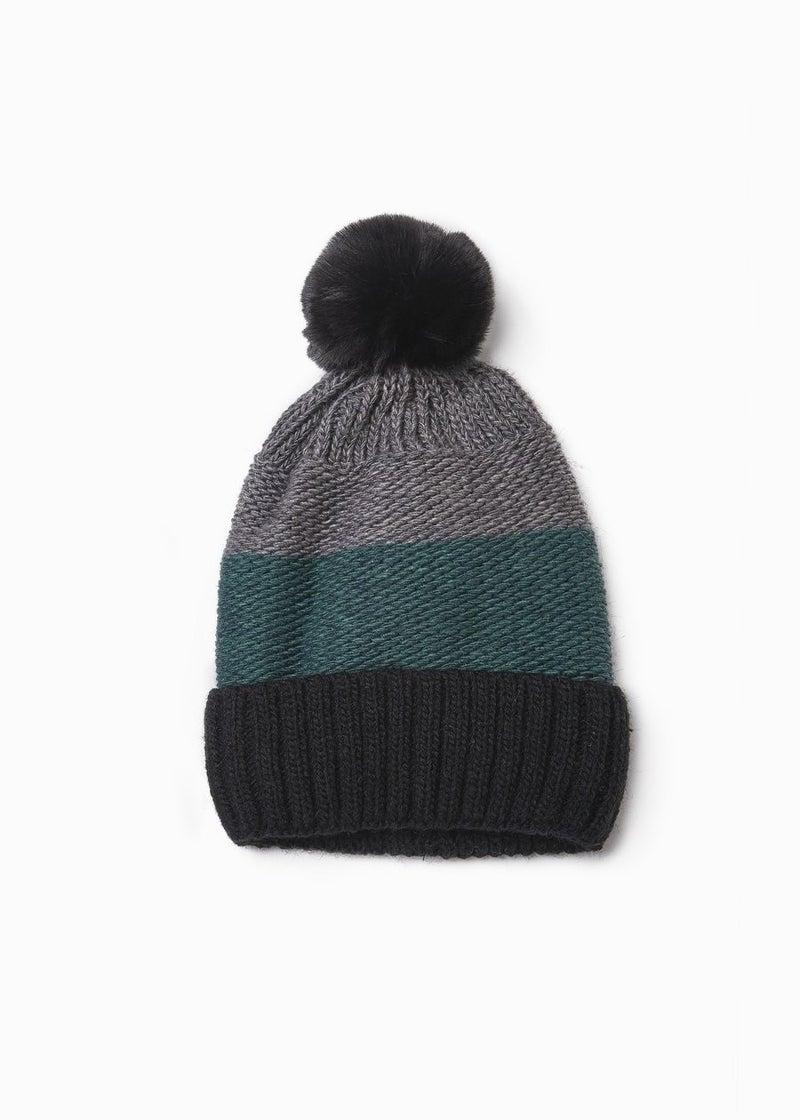 Knit Tri-Tone Fur Pom Pom Hat