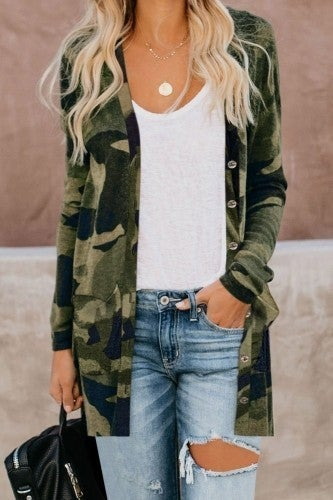 Printed Button Down Cardigan