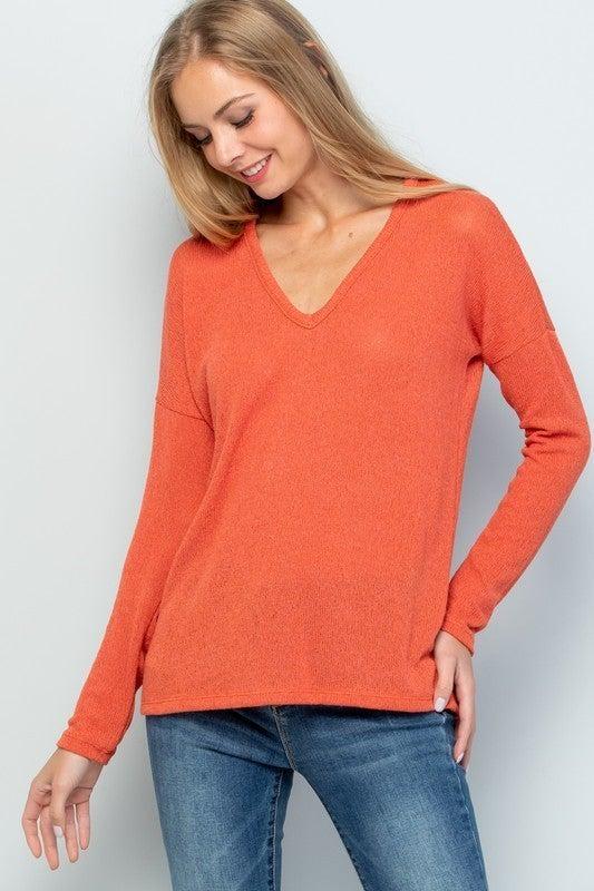 Burnt Orange V-Neck Sweater *Final Sale*