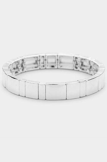 Enamel Color Block Metal Stretch Bracelet Close