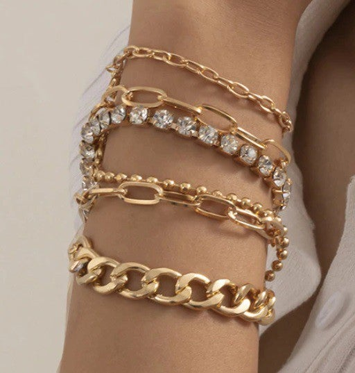 Thick Link Chain Bling Rhinestone Bracelet