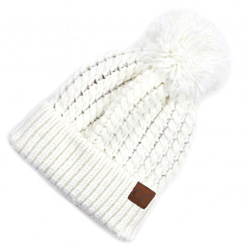 Twisted Mock Cable Knit Pom Beanie