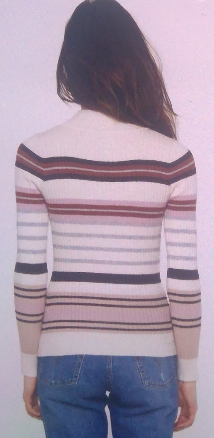 Cream Color Ribbed Sweater