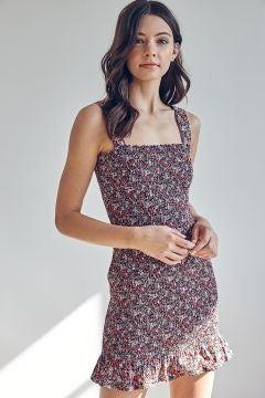 Flower Smocked Mini Dress