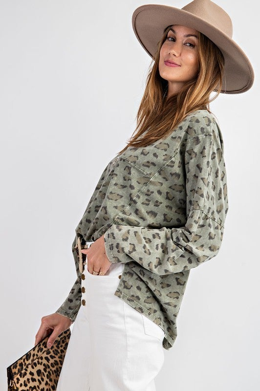 Faded Olive Leopard Print Top