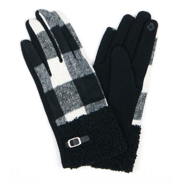 Fleece Buffalo Check Smart Touch Gloves