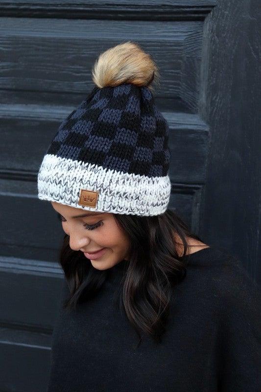 Grey/Black Buffalo Plaid Hat