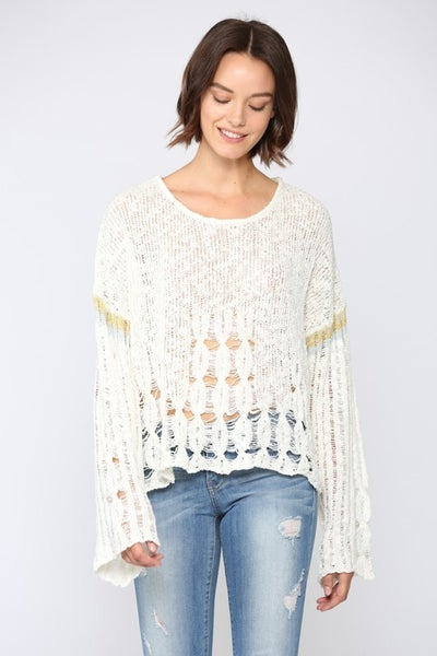 Cream Distressed Loose Fit Sweater