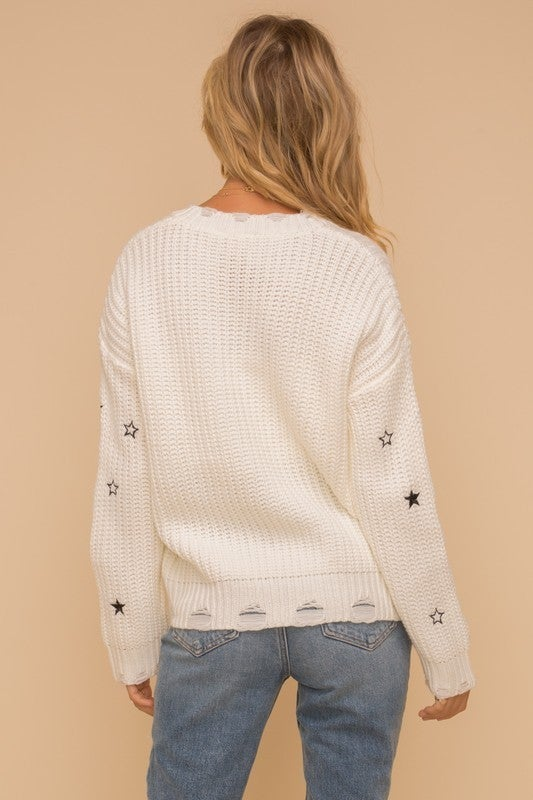 Star Embroidered Distressed Sweater