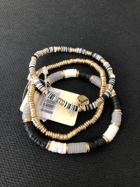 Blocked Grey, Jet, White Sequin 3 Strand Stretch Bracelets