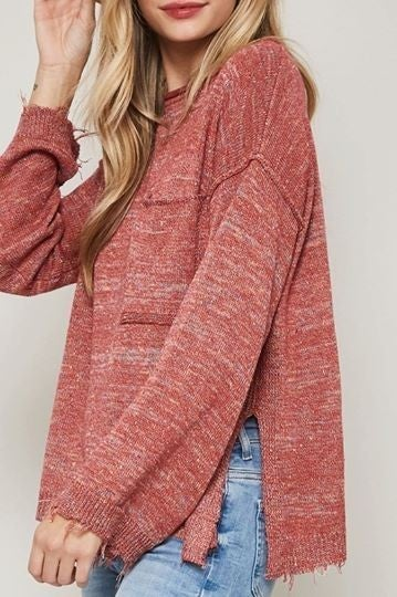 Oversized Distressed Knit Sweater