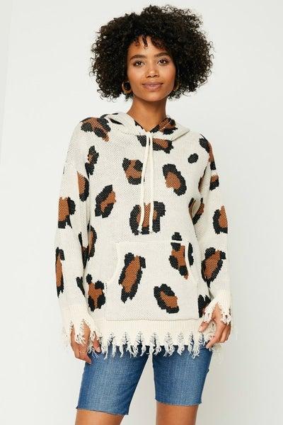 Leopard Knit Hoodie
