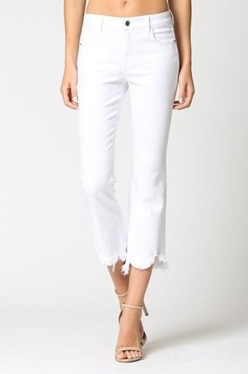 White High Waist Cropped Flare Jeans *Final Sale*
