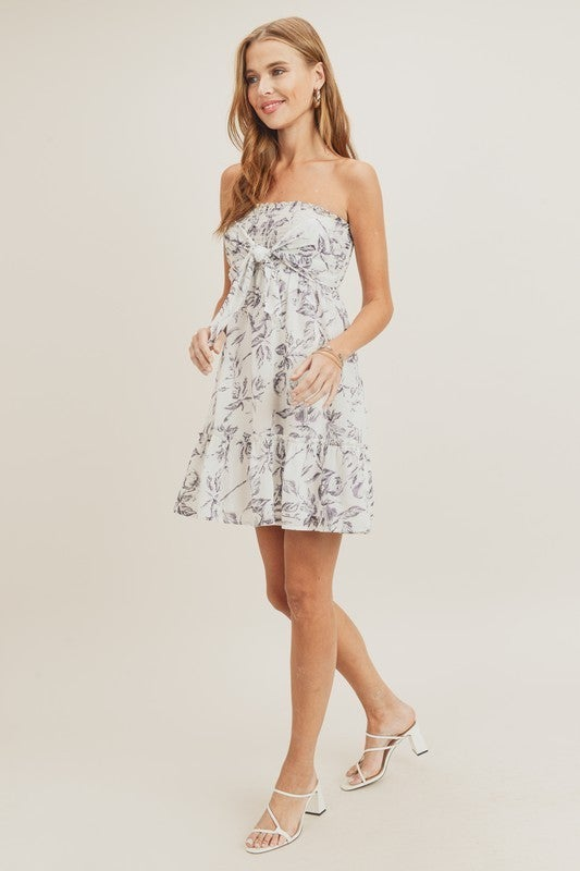 Smocked Bodice Dress with Front Knot