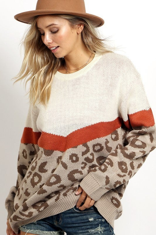 V-Shape Color Block and Leopard Pattern Sweater