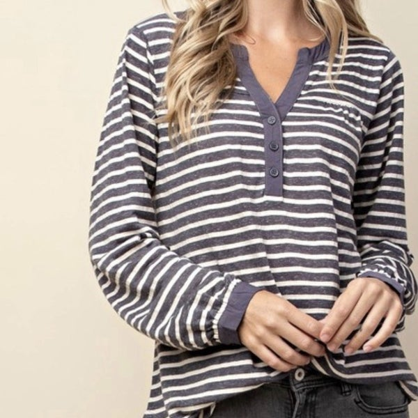 Denim Blue Stripe Top