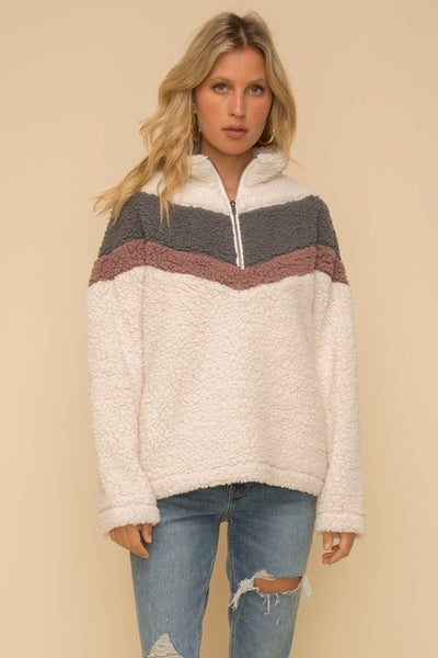 Zip Up Chevron Sherpa jacket