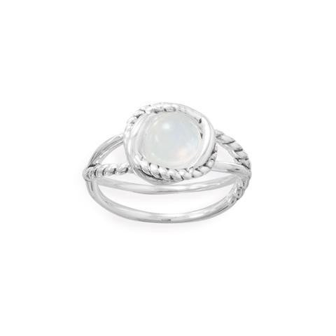 Criss Cross Band Rainbow Moonstone Ring - Size 6