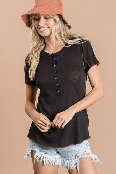 Black Snap Button Top