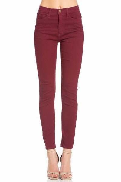 Solid Colored High Waist Skinny Denim