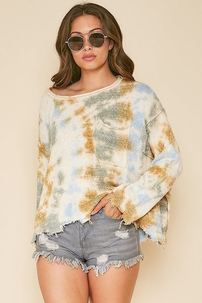 Tie-Dye Print Raw-Cut Edge Top