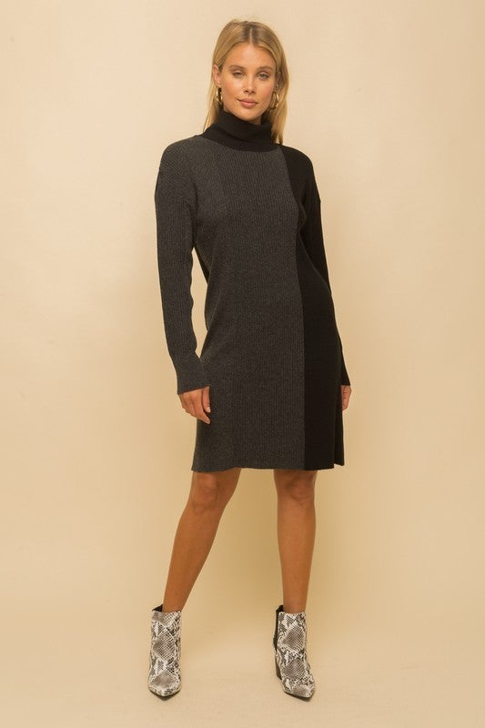 Tone On Tone Color Block Rib Sweater Dress *Final Sale*