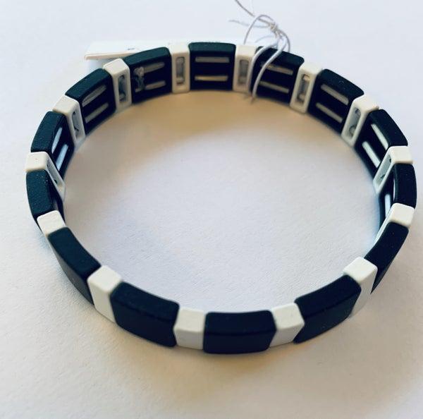 Black & White Stretch Tile Bracelet