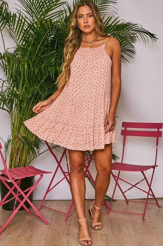 Sleeveless Floral Print Ruffle Hem Dress