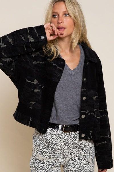 Black Corduroy Camouflage Jacket