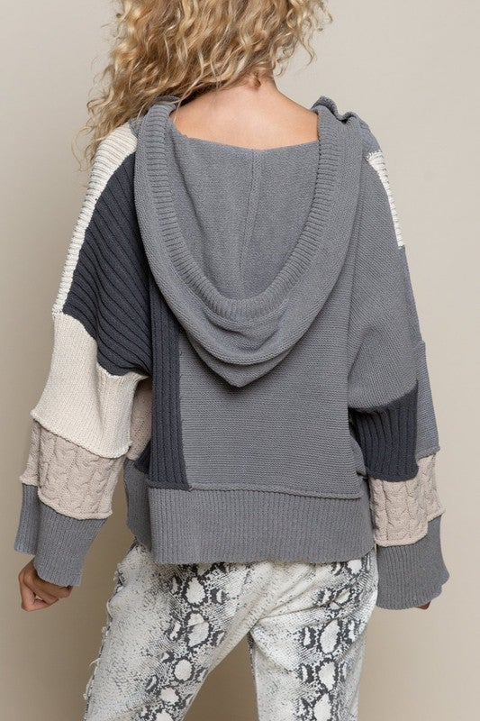 Patch Grey Knit Sweater with Hood