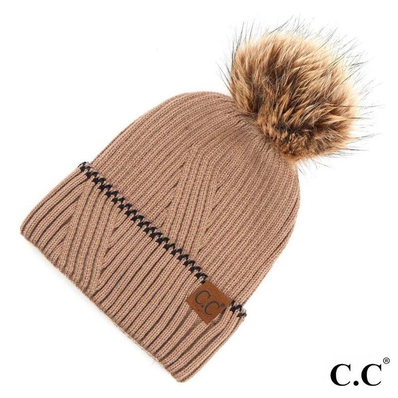 Solid Knit Faux Fur Cuffed Pom Beanie