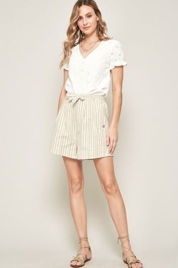 Sand Striped Chambray Belted Wide-Leg Pleated Shorts