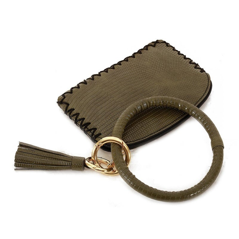 Olive Faux Leather Coin & Card Wallet Tassel King RIng